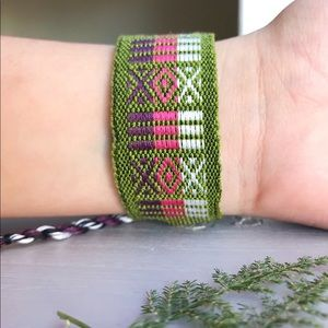 Jewelry - Boho Bright Olive, Kawaii Woven (Wide) Bracelet